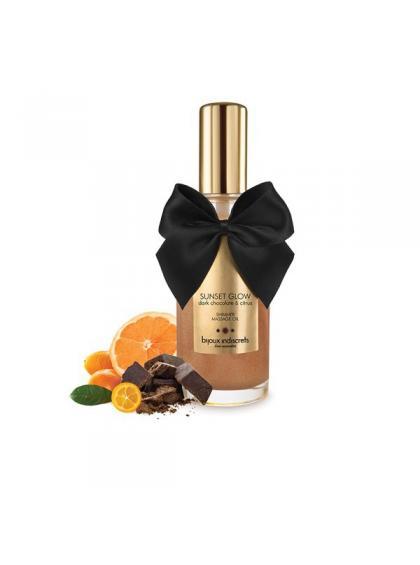 Массажное масло-шиммер Sunset Glow со вкусом и ароматом чёрного шоколада